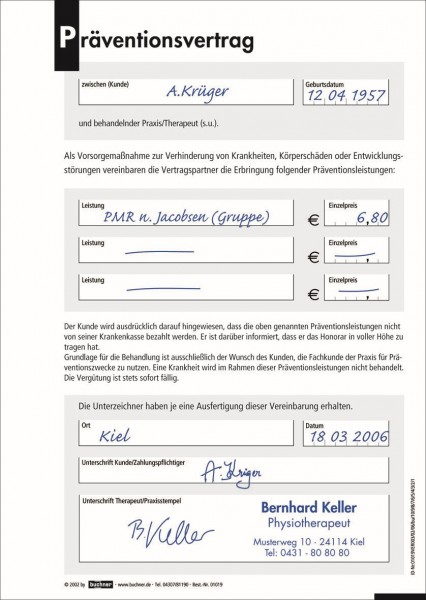 Präventionsvertrag 100 Sätze -  DIN A5