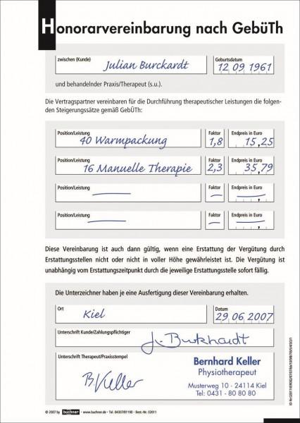 Honorarvereinbarung GebüTH - 100 Sätze, DIN A5